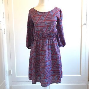 Red Blue Abstract Mini Dress New Small